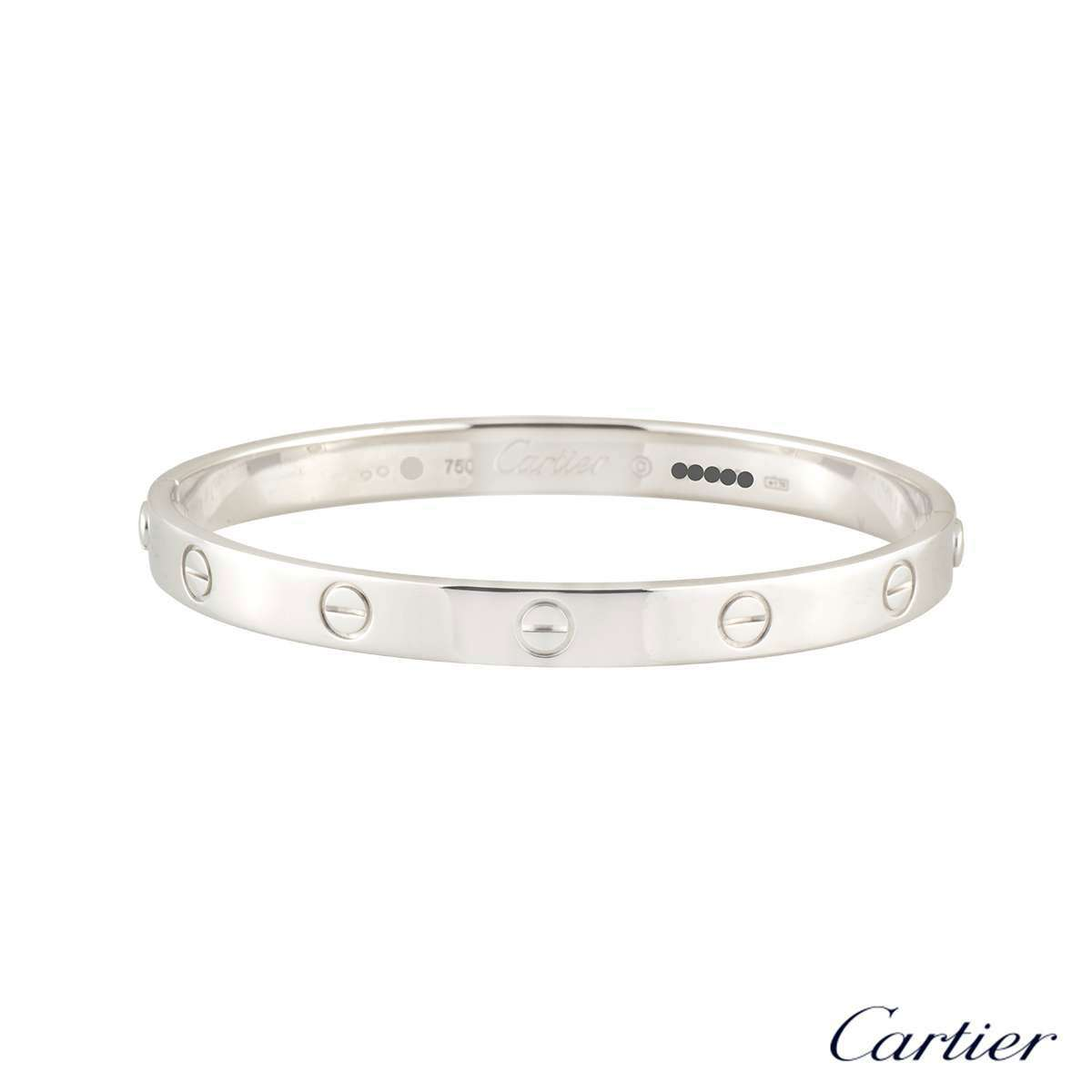 Cartier White Gold Plain Love Bracelet Size 18 B6035418